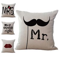 Wholesale Mustache Case Cover - Mr and Mrs Always Right Mustache Pillow Case Cushion cover Linen Cotton Throw Pillowcases sofa Bed Car Decorative Pillowcover