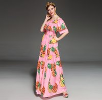 uzun pembe elbise yaz kısa kollu toptan satış-Pist Elbise 2017 Pembe Slash Boyun Kapalı Omuz Şort Kollu Uzun Kadın Elbise Ananas Baskı Yaz Maxi Kıyafeti DH009