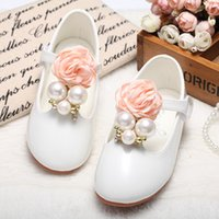 Wholesale Pink Baby Dress Shoes - Baby Girls Leather Shoes 2017 Spring Kids Girls PShoes Casual Beautiful Flower Pearl Kids Shoes For Girl Princess Flat Dress Shoes S669