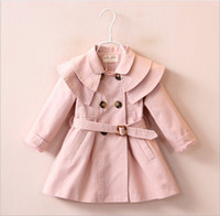 Wholesale 2017 New Autumn Winter Girls Tench Coats Fashion Baby Girl Double Breasted Coat Korean Style Cute Kids Long Tench Coat Outwear Colors