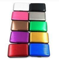 porta tarjetas de bolsillo de aluminio al por mayor-10 colores 6 ranuras para tarjeta de la venta caliente de la superficie impermeable titular de la tarjeta de aluminio de bolsillo de la manera caja de la carpeta Business Package ID tarjeta de crédito del monedero