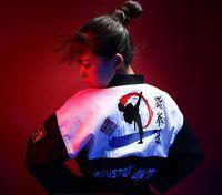 Wholesale Karate Martial Arts - (3 colors) Fashion Korea style Embroidered Taekwondo dobok TKD Taekwondo Uniform adult men women Karate clothes wear taekwondo suit wtf
