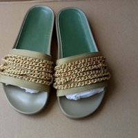 Wholesale Sandal Outsole - European luxury brands, new styles of shoes, sandals, slippers Scuff pure color gold chains, real leather shoes, flat bottom, rubber outsole