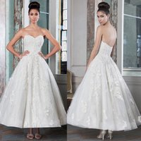 Wholesale Wedding Dressing Wholes Sale - 2017 New Vintage Ankle Length Wedding Dresses Concise Strapless Pregnant Dress Lace Applique A-Line Bridal Gowns Whole Sale High Quality