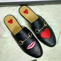 Wholesale Ladies Heels Wholesale - Women's Fashion Summer Slipper Designer Breathable Half Loafters Casual Flat Shoes Ladies Genuine Leather Sandals Women sandals embroidered