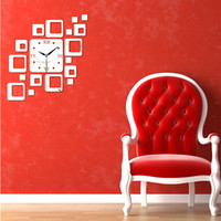 Wholesale Square Stickers - Squares Modern Mirror Wall Clock Art DIY Clock Mirror Stickers Wall Sticker Wall Decals for Home Separates Mural Silence Movement Decoration
