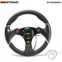 рулевое колесо оптовых-TANSKY-новый гоночный 320 мм универсальный ПВХ автомобиль рулевое колесо + углерода Firbre колеса с кнопкой Рога ТК-FXP06OM-P