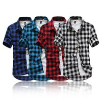 Wholesale Slim Shirts Asian - Wholesale- [Asian size, not US EU size]Hot sell thin slim fit plaid shirt men british style short sleeve shirts casual cotton men shirt