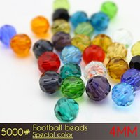 Wholesale China Sports Necklace - Fashion Brilliant necklace making beads Football Beads 4mm Special Colors A5000 100pcs set in China with sale promotion