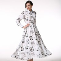 Wholesale Theatrical Dresses - The new spring 2017 theatrical retro dress elegant square collar long-sleeved women's dress high quality loose dress Bohemia