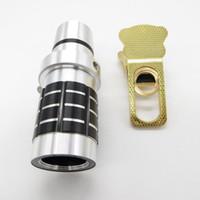 lente zoom para smartphone venda por atacado-12x lente da câmera do telefone 12x zoom óptico lente do telescópio clipe de telefoto lente de metal para iphone xiaomi samsung htc smartphone