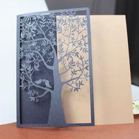 Wholesale love birds laser cut - Blue tree floded laser cutting invitations customize love birds wedding cards business graduation invitations free ship