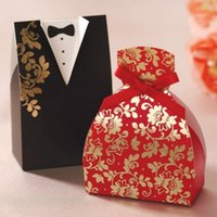 Wholesale Christmas Weddings Tuxedos - Candy Box Bride Groom Black ank Red Wedding Bridal Favor Gift Boxes Gown Tuxedo 100 pcs = 50 pair