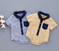 Wholesale Cool Boys Shorts - 2 color Hot selling Ins Baby kids 100% cotton short sleeve romper kids summer plaid prints turn-down Collar romper cool clothing free ship