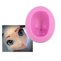 Wholesale Sugarpaste Tools - 3D Girl Face Silicone Cake Icing Mould DIY Doll Head Fondant Mold For Cake Sugarpaste Tools