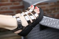 Wholesale Women Flatform Sandals - 2017 new summer designer Genuine leather shoes Roman sandals since students with thick bottom slope Buckle flatform shoes flat
