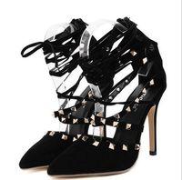 Wholesale European Wedding Stiletto - Roman Sandals Women Pumps European New Style Booties Ladies Sexy Hollow Cross Lace Up Rivets Stiletto High Heels Shoes Woman