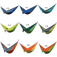 Wholesale Blue Parachute - Sleeping Hammock Portable Nylon Parachute Double Person Hammock Outdoor Camping Safe Outdoor Parachute 275 X 140cm Travel Hammock 36 Color