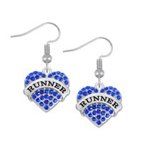 Wholesale Runner Accessories - Fashion Simple Design Crystal Heart Drop Earrings TWRIL Three colored RUNNER Fashion Dangle Earrings For Women Accessories