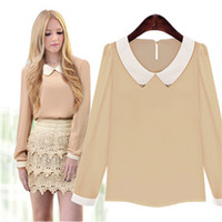 Wholesale europe style long sleeve blouses - Europe Russia style new summer women chiffon shirt Peter Doll collar white gold long sleeve Piping Sequin Cotton Blend Patchwor Blouses Tops