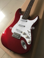 Wholesale Quilted Guitar - Metallic red Electric Guitar,ST guitar,S-S-S pickups, with Quilted Maple Top, OEM Accepted, High Quality, Wholesale