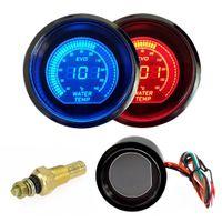 medidor de temperatura led venda por atacado-Hot 2 polegada 52mm Medidor De Temperatura Da Água 12 V Azul Vermelho LEVOU Lente matiz Da Tela LCD Medidor de Temperatura Digital de água Do Carro instrumento