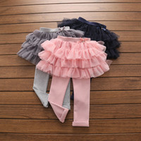 Wholesale Veil Leggings - 2017 Kids Girls 3 Layers TUTU Pantskirt Comfortable Net veil Leggings Spring Fashion Colorful Kids Pants Pantskirts G013