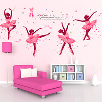 Wholesale bedroom wall art for girls resale online - 2 styles DIY Pink Girls Dancing Ballet Wall Sticker black dance ballet wall sticker decals for Home Decor kids room