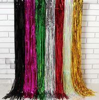 Wholesale Wholesale Metallic Tassel - Laser Waterfall shimmer curtain party wedding Backdrop decoration Metallic tassel bling curtains Birthday Christmas decor 200cm 245cm