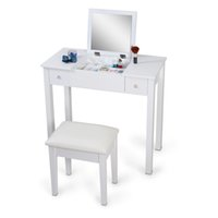 Wholesale Usa Cosmetics - White Mirrorred Makeup Desk Vanity Table Cosmetics Storage Organizer Desk with Vanity Stool USA Stock Free Shipping