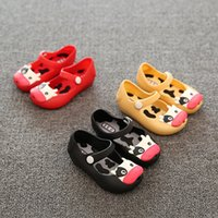 Wholesale Toddlers Leather Sandals - 2017 New Jelly Plain Shoes For Baby Summer Sandals mini minised Cow fish mouth Scrub Little Children Toddler Kids Size