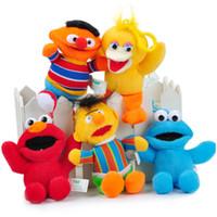 Wholesale Elmo Stuffed Keychain - New 5.12 inch 5 Colors Sesame Street Elmo Stuffed Plush Dolls Toys Keychain No tag C135