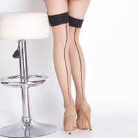 Wholesale Women Wearing Sexy Black Nylons - Beileisi hosiery seamed stockings sheer stockings thigh high sexy women nylon tights fashion leg wear stocking