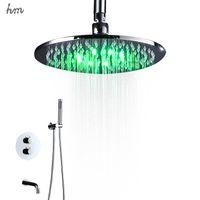 cheap rain shower head. hm 10  LED Shower Big Rain r Brass Bathroom Kit Wall Mounted Saving Water Head Spout Thermostatic Mixer 170305 Cheap Kits Free Shipping