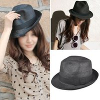 Wholesale Ladies Crushable Sun Hat - Hot Sale Hot Sale !Straw Hat -Trilby Style Crushable Summer Sun Mens Ladies -Black