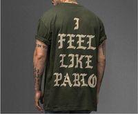Wholesale I Hip Hop Shirt - 2017 Kanye West Army Green Streetwear t-shirt Men's Hip Hop Oversized t shirt Camisetas Hombre I Feel Like Pablo shirt yonth tee