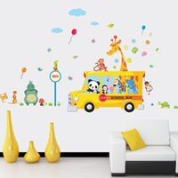 Wholesale Horse Bathroom - Creative DIY wall sticker horse for kids room Carved Removable kindergarten stickers cute Animals bus pvc poster home decor 2017 Wholesale