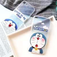 Wholesale iphone cases doraemon online - For Iphone Mobile Phone Case Jingle Cats Doraemon Cartoon Lanyard Hole Embossed Painted Mobile Phone Sets For Iphone Plus plus