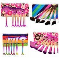 Wholesale Fishing Bags - 7pcs 1 set Mermaid Makeup Brushes for Foundation Powder Contour Fish Scales Beauty Rainbow Cosmetic Makeup Brush Kits with Bag KKA2848