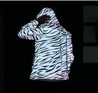 abrigos de cebra al por mayor-2017 Hombres chaqueta casual hiphop rompevientos 3 m chaqueta reflectante marea hombres zip abrigo con capucha cebra ropa fluorescente