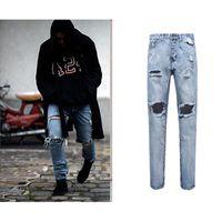Wholesale Slim Straight Pants Men Wholesale - Wholesale- Best Version Men Zipper Destroyed Torn Pants Skinny Jeans Blue Pants Slim Fit Fashion cotton jeans