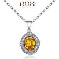 Wholesale Vintage Lucky Brand - ROXI Brand Silver Necklace Yellow Crystal Pendant Vintage Necklace European Charm Necklace With Good Lucky necklaces