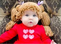 ingrosso beanie del proiettore della foto del bambino-Baby Wig Hat Kid Ispirato Cappello Cabbage Patch Parrucca Hat Crochet Beanie Princess Cabbage Patch Cap Neonato Infant Toddler Photo Puntelli 100% Cotone