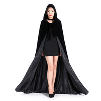 Wholesale Cheap Hooded Wedding Cloak - Cheap Long Fur Hooded Cloaks Winter Wedding Capes Wicca Robe Warm Hallowmas Christmas Black Events Accessories