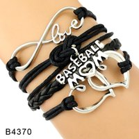 Wholesale Pieces For Mom - (10 Pieces Lot)Infinity Love Baseball Mom Heart To Heart Charm Leather Wrap Bracelets For Women Men Jewelry