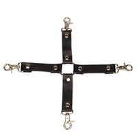 Wholesale Hog Tie Restraints - Wholesale Bondage Hogtie Restraints Real Leather Wrist Ankle Cuffs Hog Tie Trigger Clips Sex Toys SM Sex Tools For Women