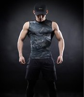 Wholesale New Fashion Camouflage Clothing - Men Compression Shirts 2017 New Fashion Camouflage style vest Cosplay Crossfit Tops For Male Fitness Clothes