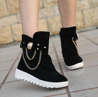 Wholesale Red Thick Heels Boots - new female short Sonw boots boots In the han edition black flat canister boots In winter to keep warm with thick chain female cotton shoes