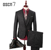 Wholesale Men S Linen Dress Suit - OSCN7 3 Pcs Black Linen Suit Men Slim Fit Business Wedding Dress Suits for Men Plus Size Fashion Costume Homme Terno Masculino
