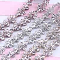 Wholesale Wholesale Bridal Sashes - 10Yards Rhinestones Trim Iron On Wedding Dresses Belt Rose Gold Silver Rhinetones Clear Bead Crystal Sewing On DIY Bridal Sashes